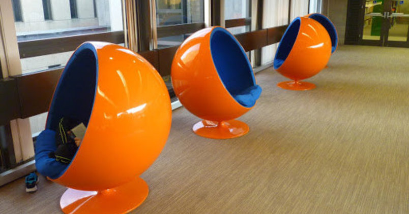 Orange womb chairs